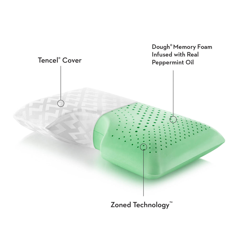 "The Shoulder Zoned Dough® Peppermint uses zoned technology and Dough Memory foam infused with the Peppermint scent to assist in a peaceful sleep. The shoulder cut out is perfect for side sleepers. Comes with the peppermint spray to keep the fresh scent  King: 35"" x 16"" Queen: 29"" x 16"""