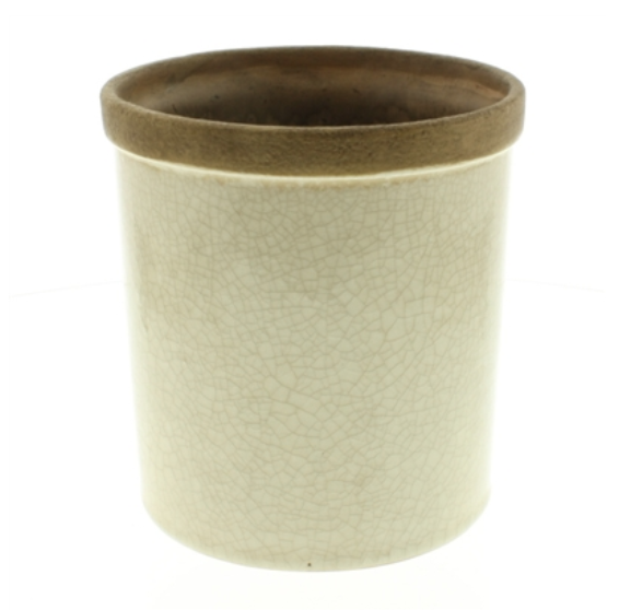 Cream Ceramic Pot with Moody Interior