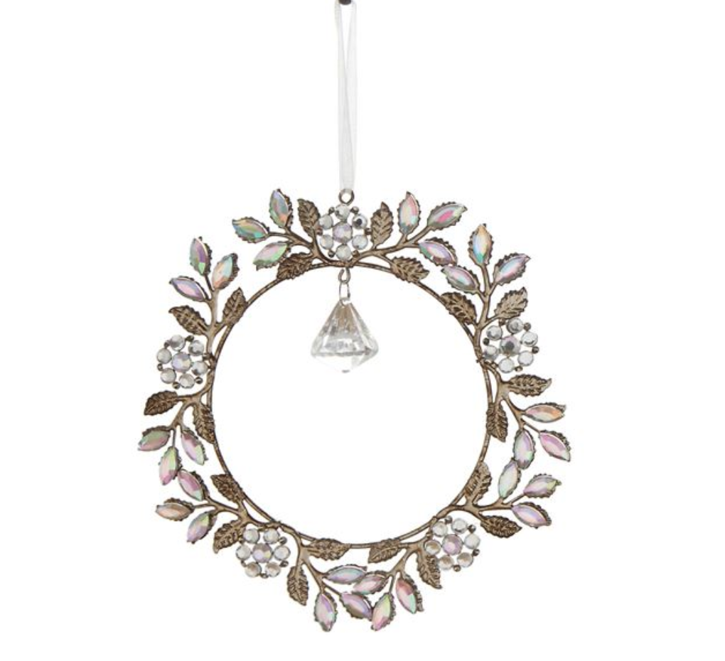 Jeweled Holly Wreath Ornament
