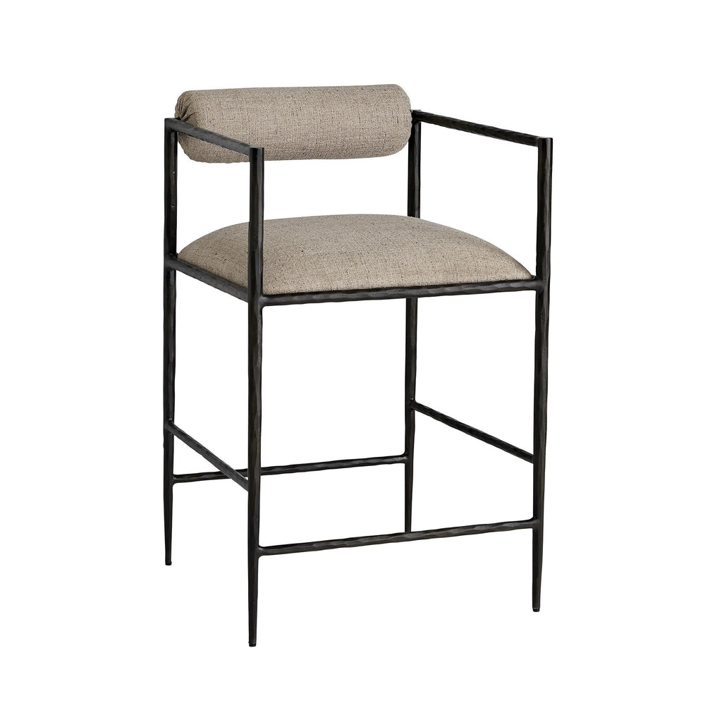 "The Barbana Counter + Bar Stool has a gorgeous, natural iron frame with a textured pewter poly-blend cushion. The thin legs bring a modern look to any living room, dining room, or bar area.   Overall Counter Stool Size: 21""w x 22""d x 33""h Seat Back: 24""  Arm Height: 31""  Overall Bar Stool Size: 21""w x 22""d x 39""h Floor to top of seat: 30"" Arm Height: 37"""