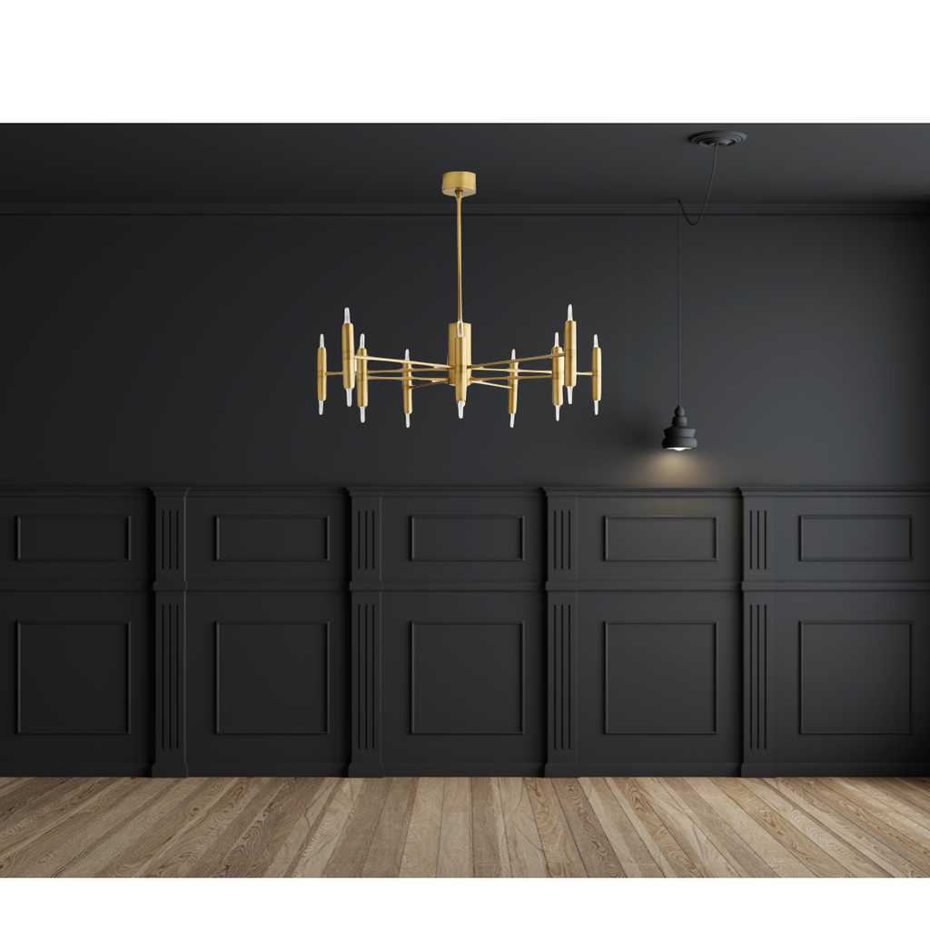 "We love the thin, cylindrical candle sleeves of this Bozeman Chandelier. A contemporary chandelier to add in your living room, entry way, or other area needing an extra sleek source of light.   Size: 46""dia x 10.5""h"