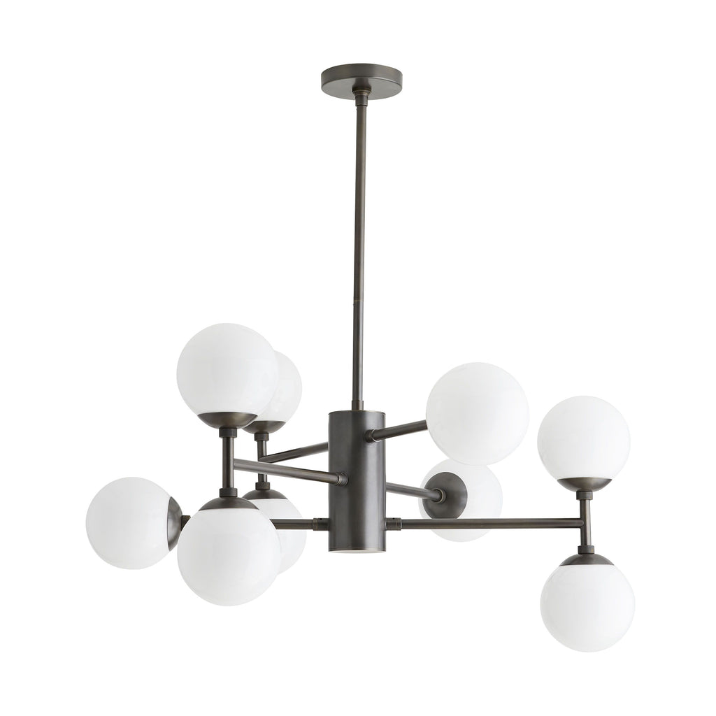 "The Dudley Chandelier finds balance in asymmetrical design. The large opal glass globes extend from the linear, tiered arms, providing plenty of wattage over a large table or other large area - a more-than-modish light solution for contemporary spaces.  Additional pipe available (PIPE-448). Damp-rated, although limited covered outdoor conditions may affect finish.  Dimensions: 19""h x 33""dia   Appearance Material: Glass, Steel Primary Finish: English Bronze"