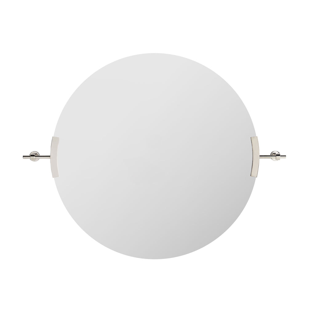 "The Madden Round Mirror is held by two polished nickel brackets, bringing a sleek look to any room. We love that it can hang both horizontally or vertically.   Size: 30""w x 3""d x 38.5""h Actual Mirror Diameter: 30.00in"
