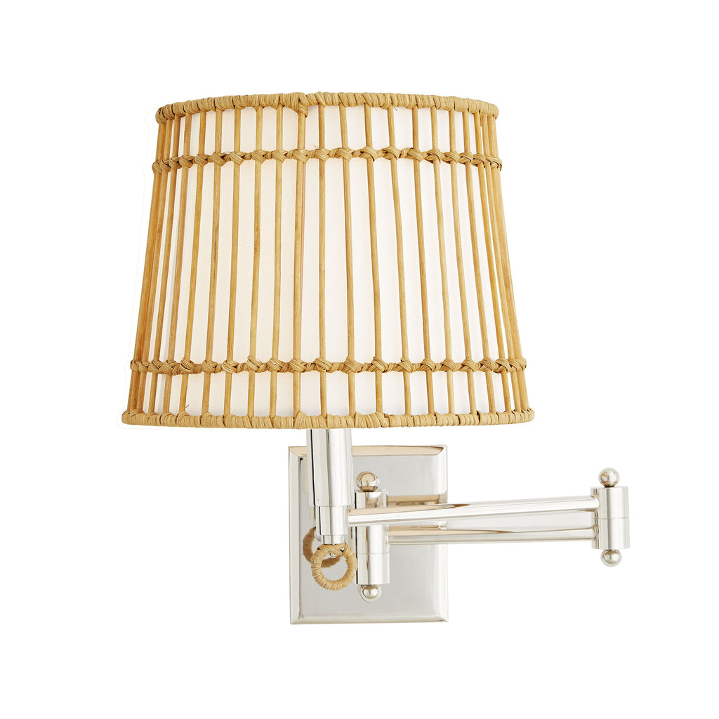 "The Sea Island Sconce has a rattan structure and an ivory linen-wrapped interior that we absolutely love. The nimble, charming and always practical swing arm sconce has a diffuser for flexible needs. A gorgeous choice for your hallway, living room, or other area needing extra light.   Size: 14.5""h x 11-24""w x 11.5-27.5""d"