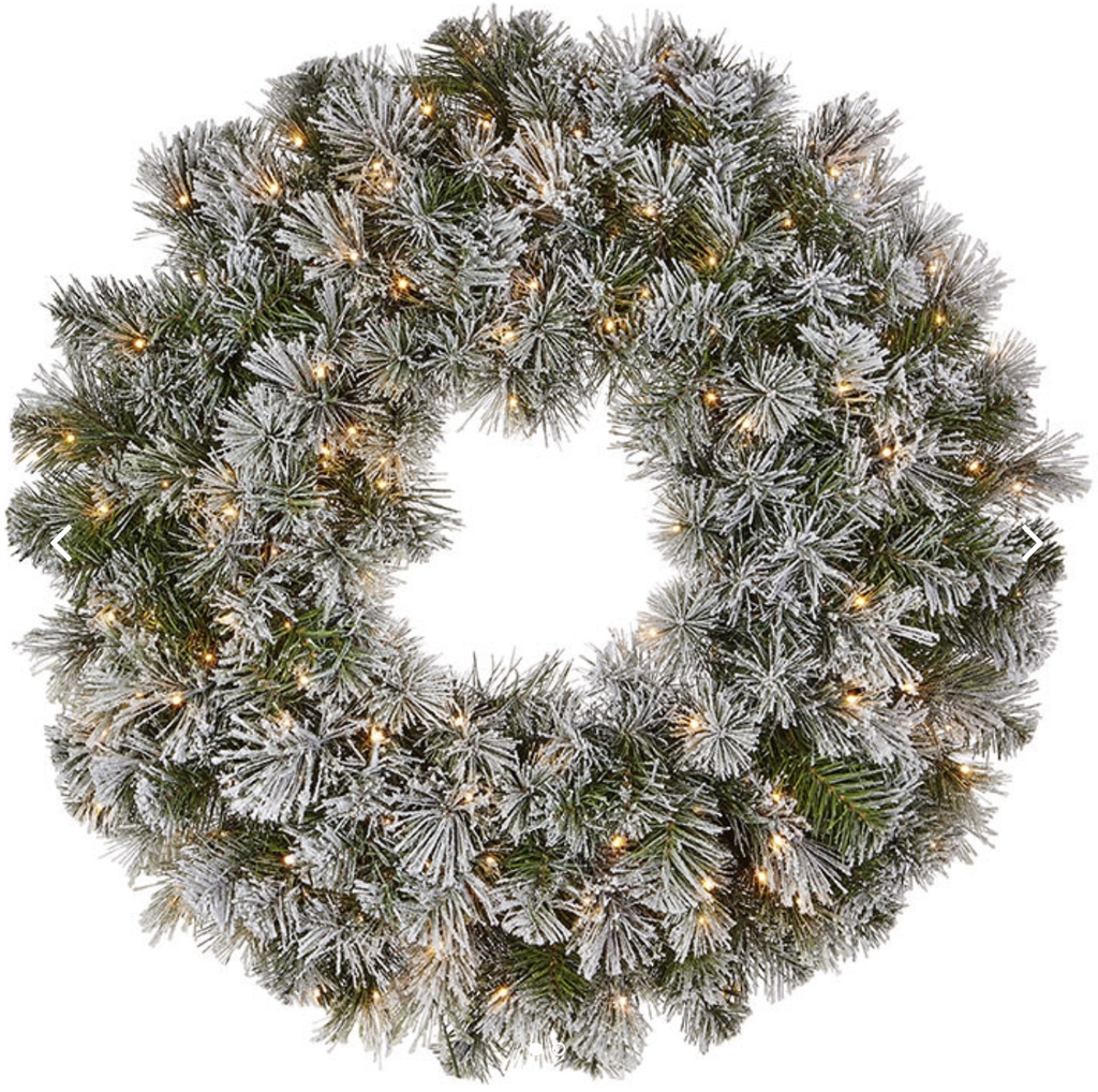 "Twinkling Flocked Wreath with Lights 30"" - Amethyst Home"