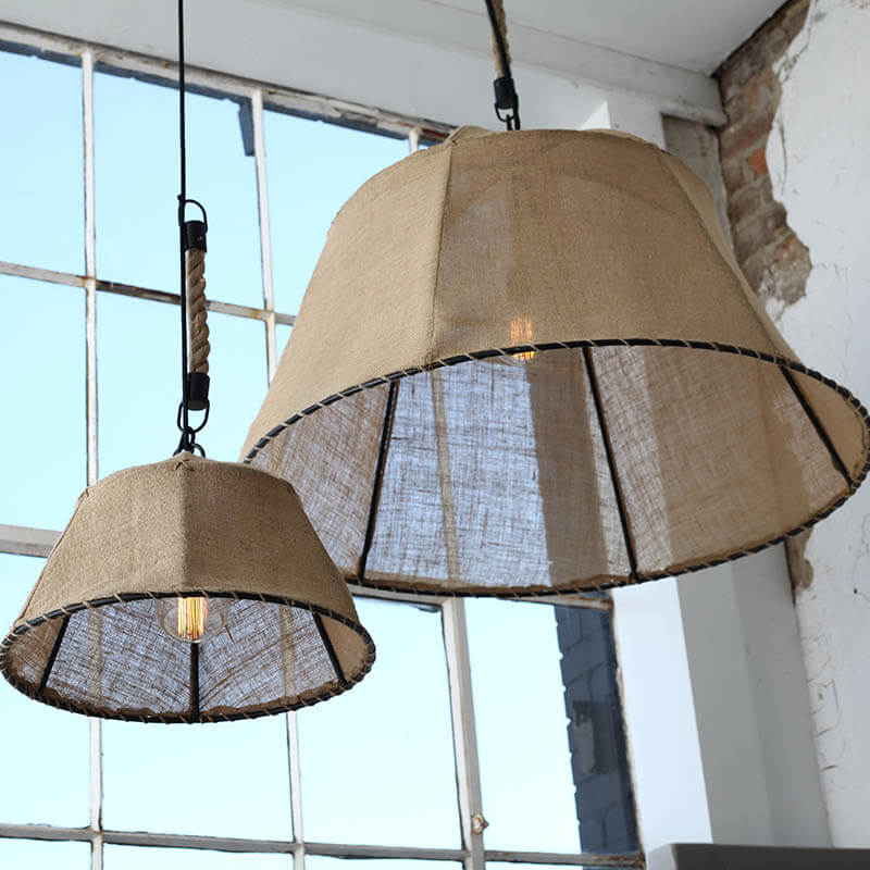 This chic large burlap dome pendant was a dream to see in person at market. We loved how it was suspended with rope and chain to give it unique feel that can impress in any setting.