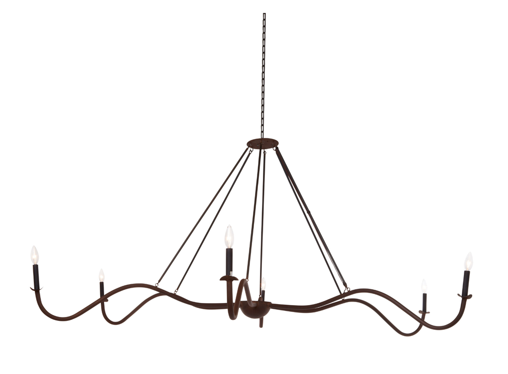 "Add unique and modern lighting to a room with this Spider Chandelier from Cisco Brothers. The curved arms add beautiful sight lines to the fixture and plenty of light. This light fixture sets any room apart and comes available in either a ""rust"" or ""flat black"" finish in three different sizes."