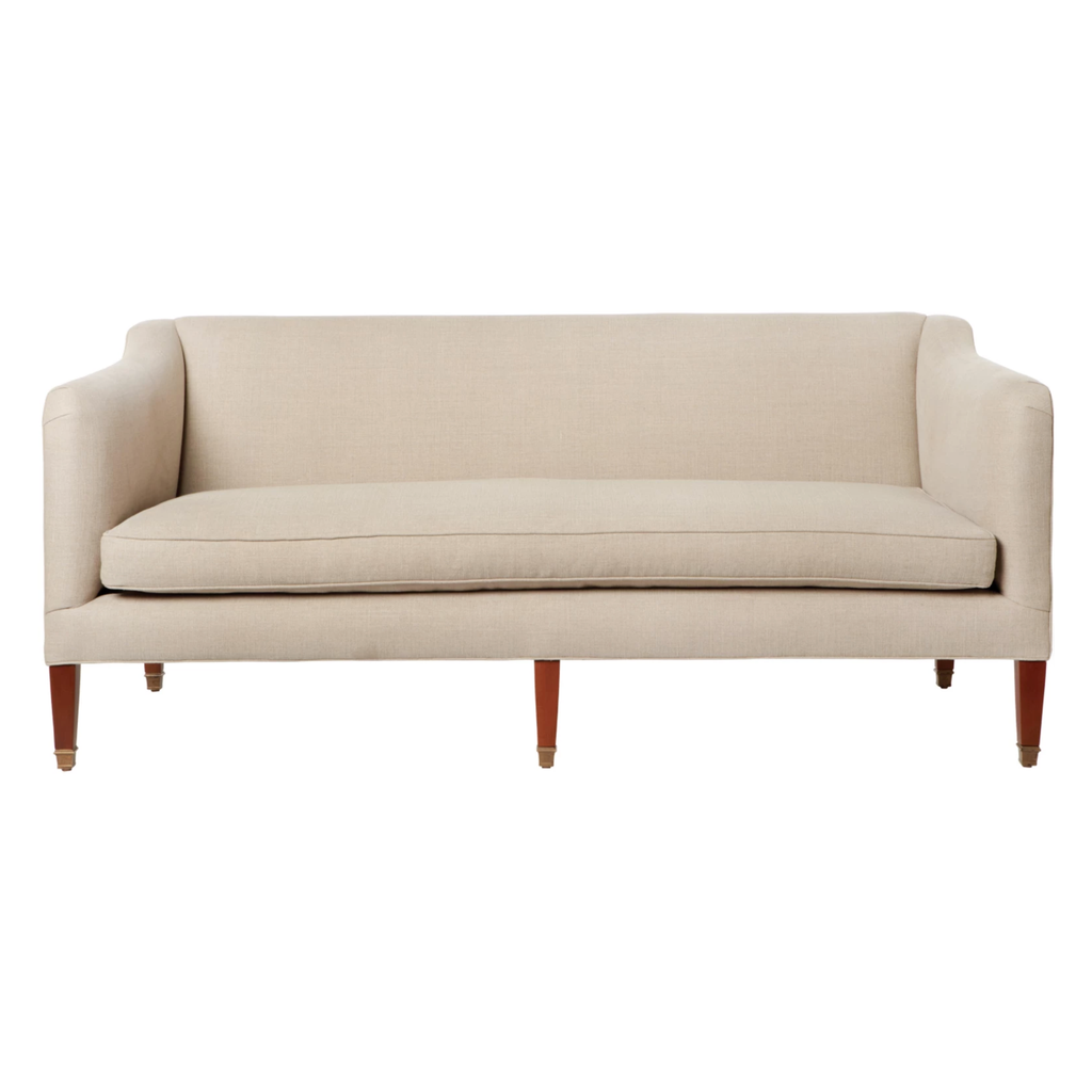 "The Cove Sofa is a petite modern sofa with a nod to history by Cisco Brothers x John Derian. We love to utilize this sofa in smaller scale rooms or with a dining table!  As shown in Vintage Flax 100% linen.  Overall: 72""w x 31""h x 32""d  Sitting Space: 64""w x 22""d  Seat Height: 18""h  Arm Height: 26""h"