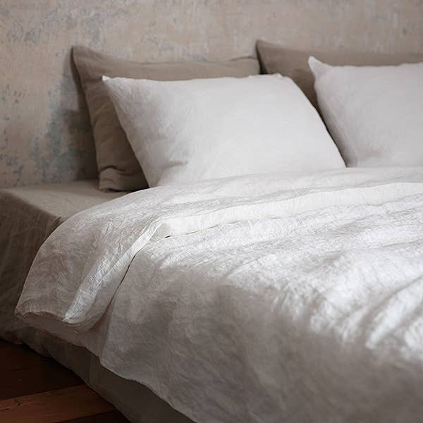We love how this pure linen Stone Washed Off White Duvet by LinenMe is prewashed, making it extremely soft and lovely to touch. The perfect duvet to snuggle into after a long day!   This ships from Europe within 38-52 days. Some things are worth the wait!   Machine washable. No ironing needed as the real beauty of it lies in its natural crumples. Button opening.