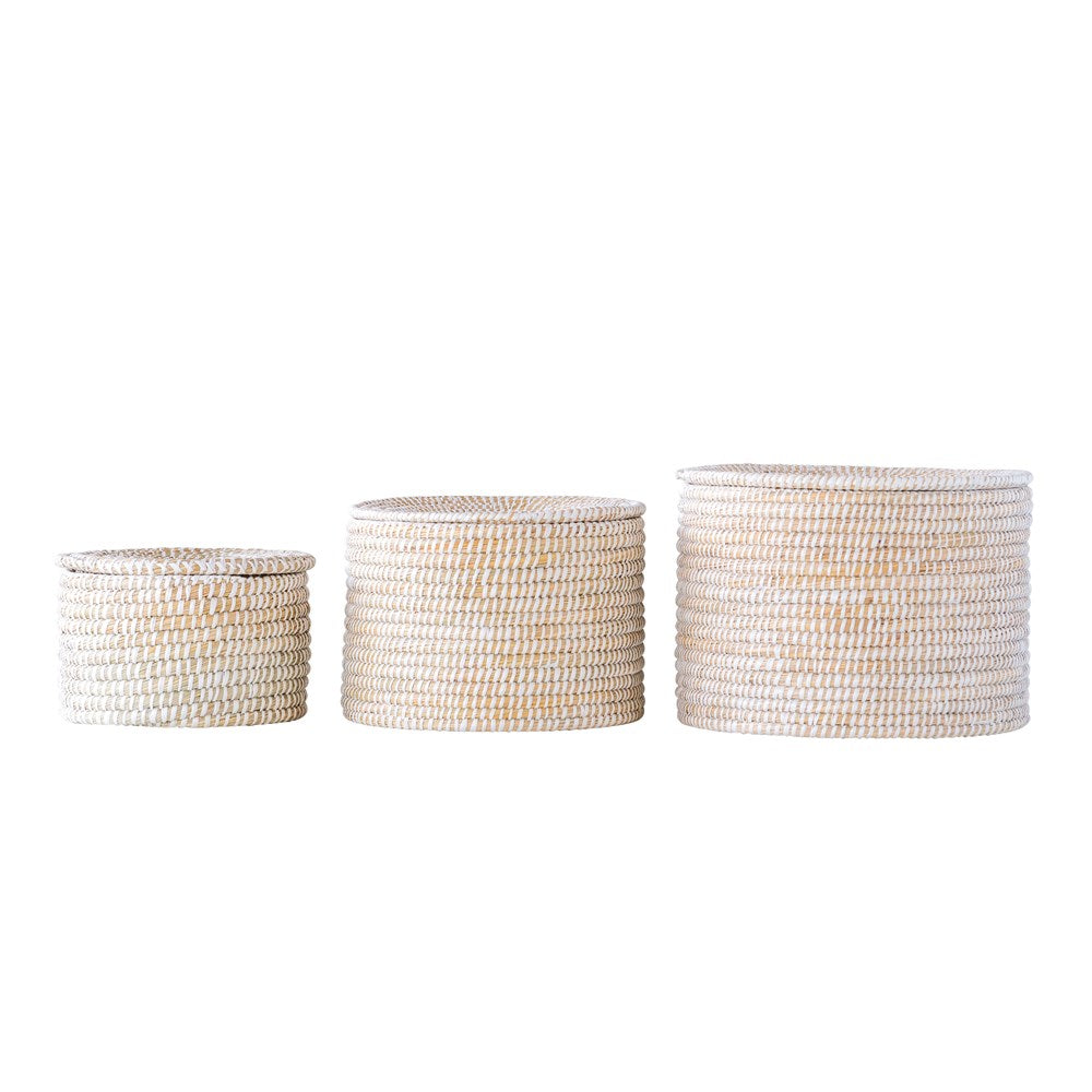 "These Natural Woven Whitewashed Seagrass Baskets with Lid- Set of 3 are a timeless decoration or holder for flowers, plants, or other house hold items  13.75""d x 7""h 11.75""d x 8.25""h 9.75""d x 6.74""h"