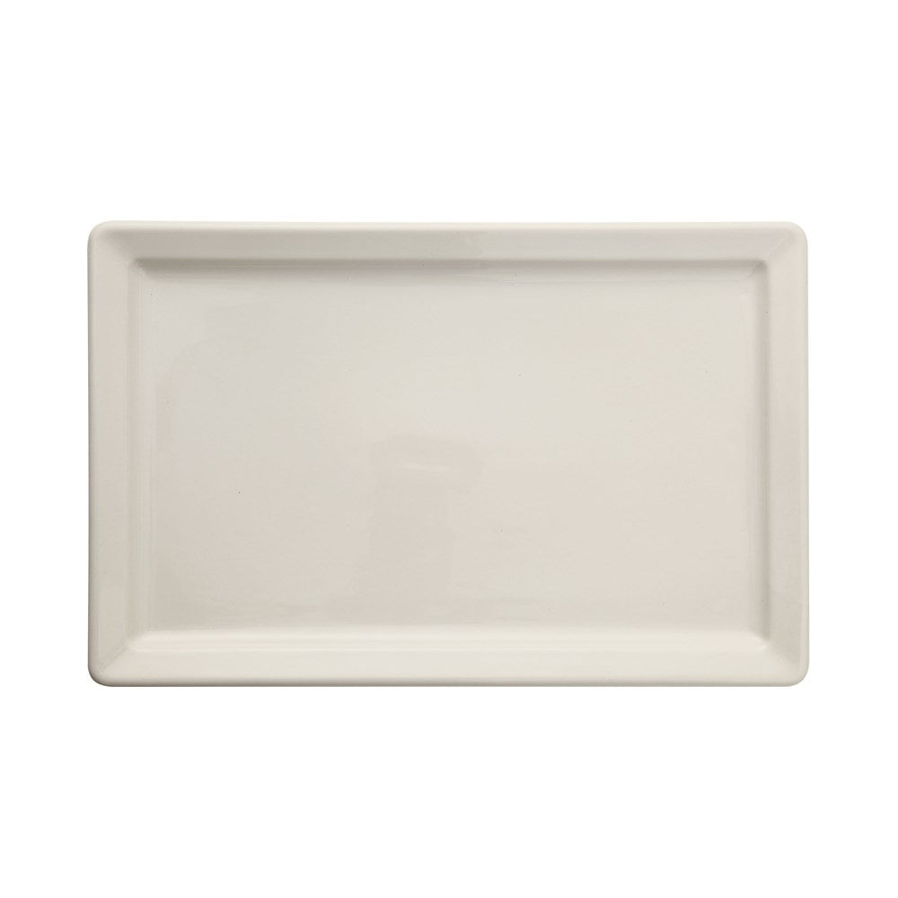 "The Antique White Stoneware Vintage Reproduction Platter are a go-to for serving your favorite appetizer or fruit assortment  Size: 15.5""l x 10""w"