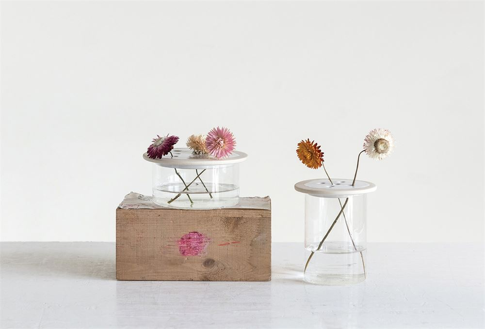 This vase is a fun way to arrange and hold flowers! The hand-crafted bowl and stoneware top makes this a gorgeous addition to any tabletop, mantle, or anywhere else in your home!