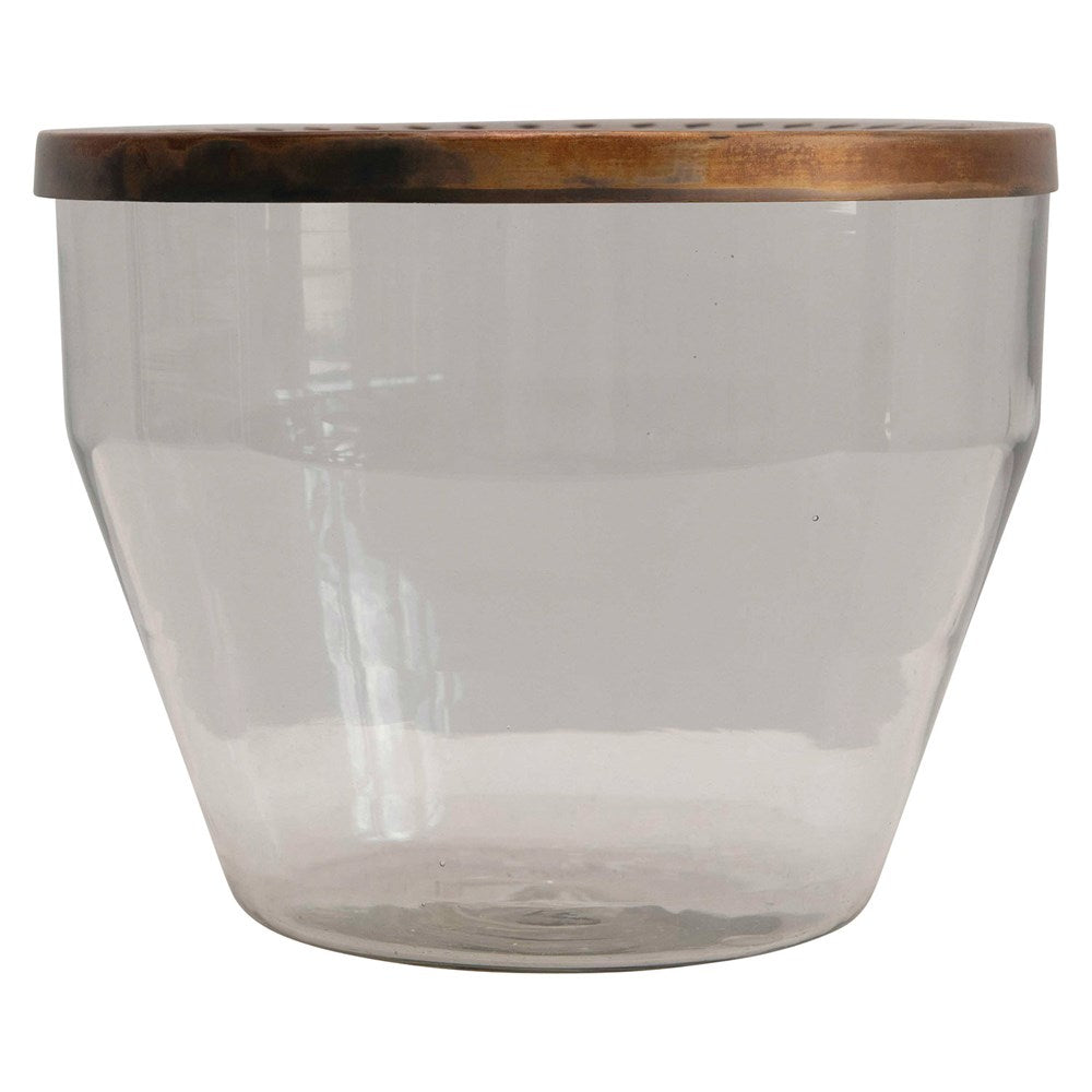 "We love the antique gold finish of this Glass Container with Metal Frog Lid. Put flowers in the top as the final touch in any space.   Size: 9.5""d x 7.5""h"