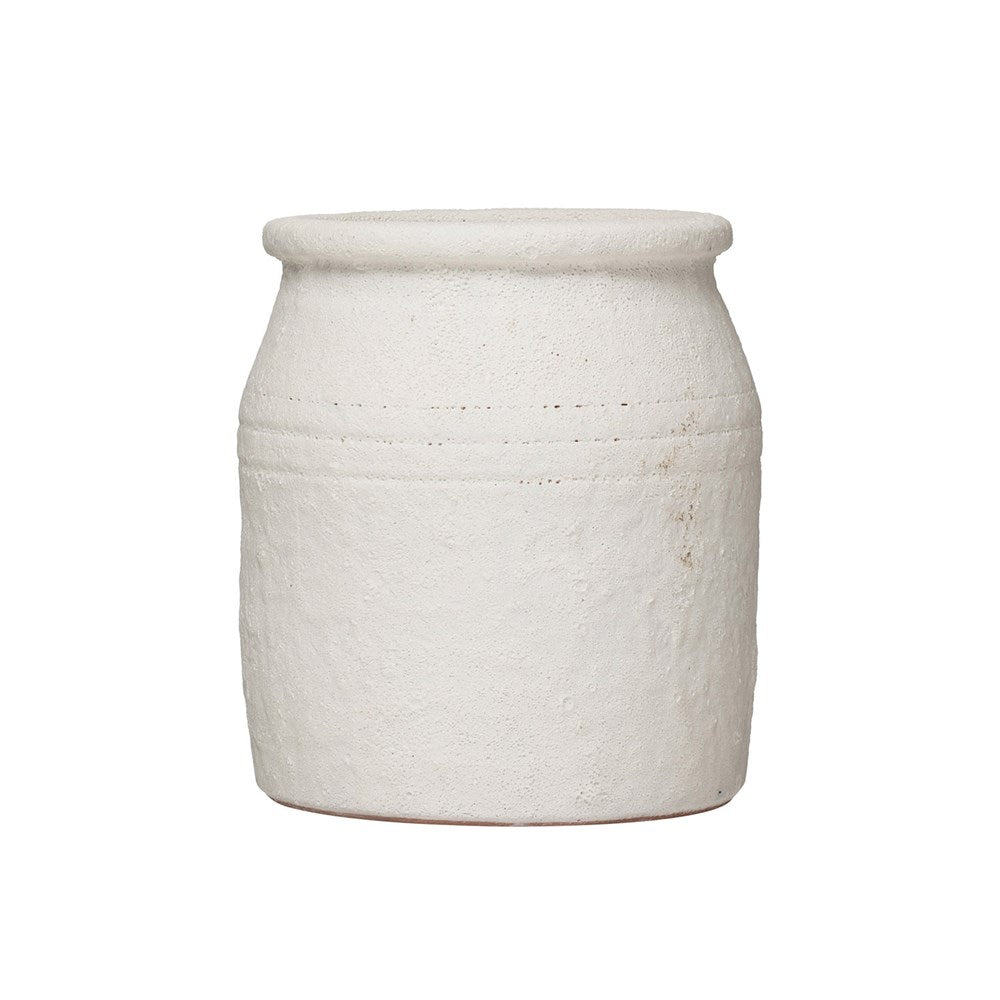 "The Coarse Distressed White Volcano Glaze Terracotta Crock is a gorgeous vessel for your flowers, utensils, or other decor  Size: 6.25""d x 7""h"
