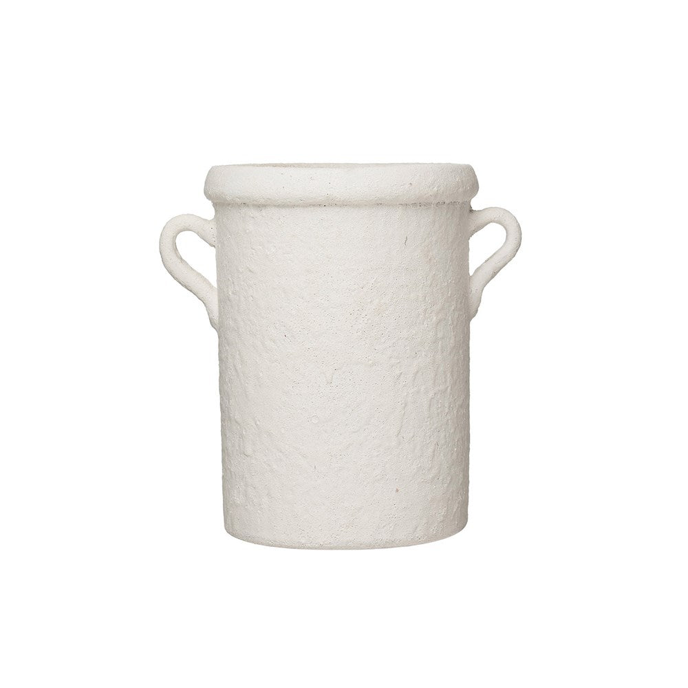 "This Coarse White Volcano Glaze Terracotta Crock with Handles is a stunning final touch for a bouquet or use it to store your utensils.   Size: 8""d x 11""h"