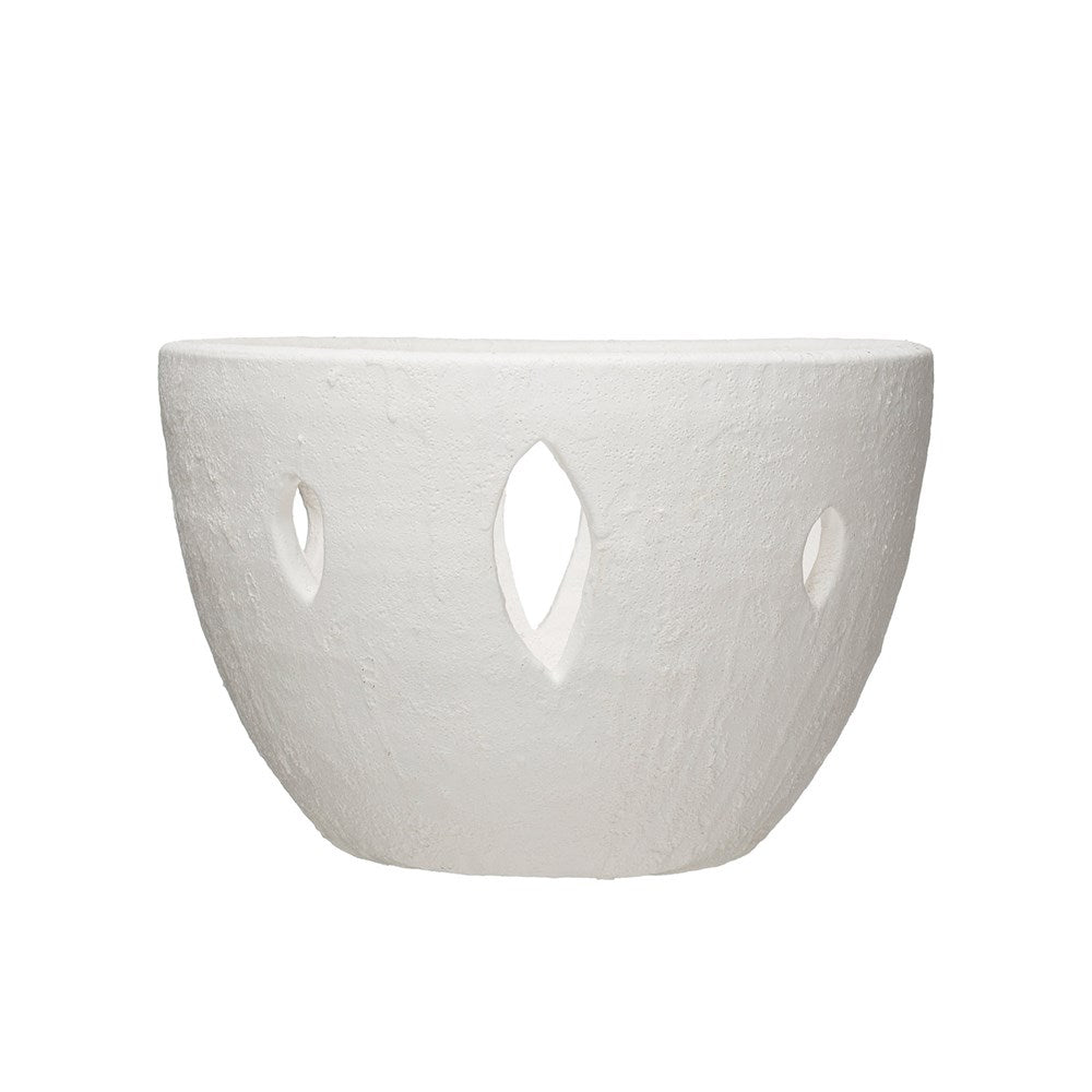 "Put accessories, flowers, or other accessories in this gorgeous Coarse White Volcano Glaze Terracotta Bowl with Cut-Outs.   Size: 12.25""d x 7.75""h"