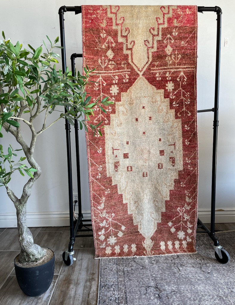 "The Dubai Vintage Turkish Area Rug features vibrant shades of red and taupe with gorgeous medallion designs.  This hand knotted vintage area rug is easy to care and maintain and will have very little shedding. We would love to see this layered with a jute and bring any entryway, hallway, bathroom or other space to life!  Hand Knotted 100% Wool 2'4"" x 8'8"""