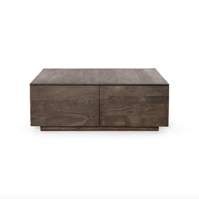 "This Duncan Aged Brown Storage Coffee Table is made of reclaimed wood giving a natural, earthy feel to the room. Bonus points - there are hidden drawers making this coffee table both beautiful and functional  Overall Dimensions: 42.00""w x 42.00""d x 15.00""h"