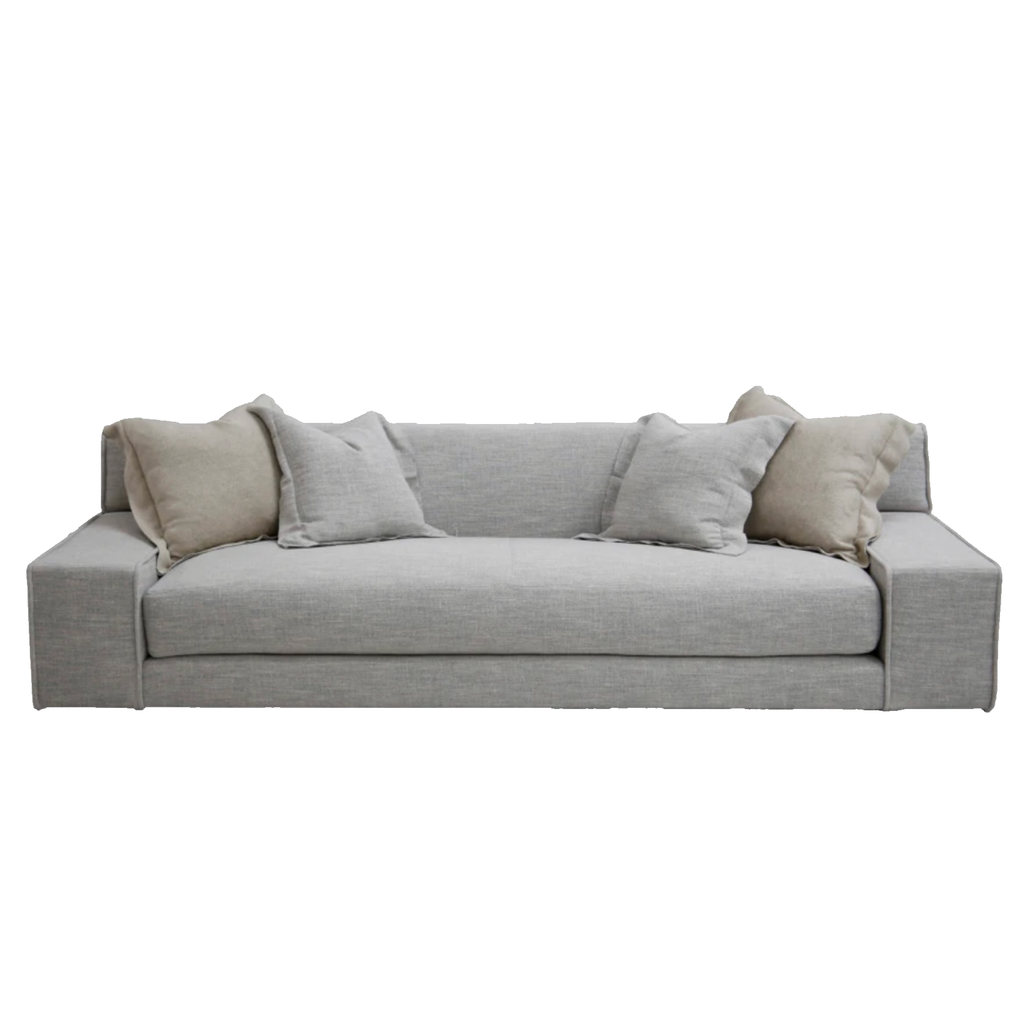 "The ultimate low, cozy sofa.  We would put this Esme sofa in the family room, living room, or movie theater.  The juxtaposition of a juicy, miniature-spring filled down-wrapped cushion and firm back is ultra comfortable.  We love the thick, firm arms for resting cell phones & snacks.  Enjoy this sofa upholstered or slipcovered.  8-way hand-tied for comfort and quality for generations!  • Overall Height: 29"" • Arm Height: 18.5"" • Seat Height: 17"" • Exterior Depth: 40"" • Interior Depth: 29"""