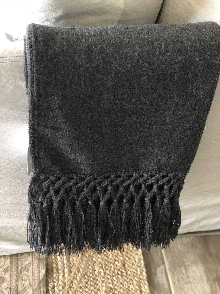 alpaca wool throw, charcoal throw, alpaca blanket, wool blanket