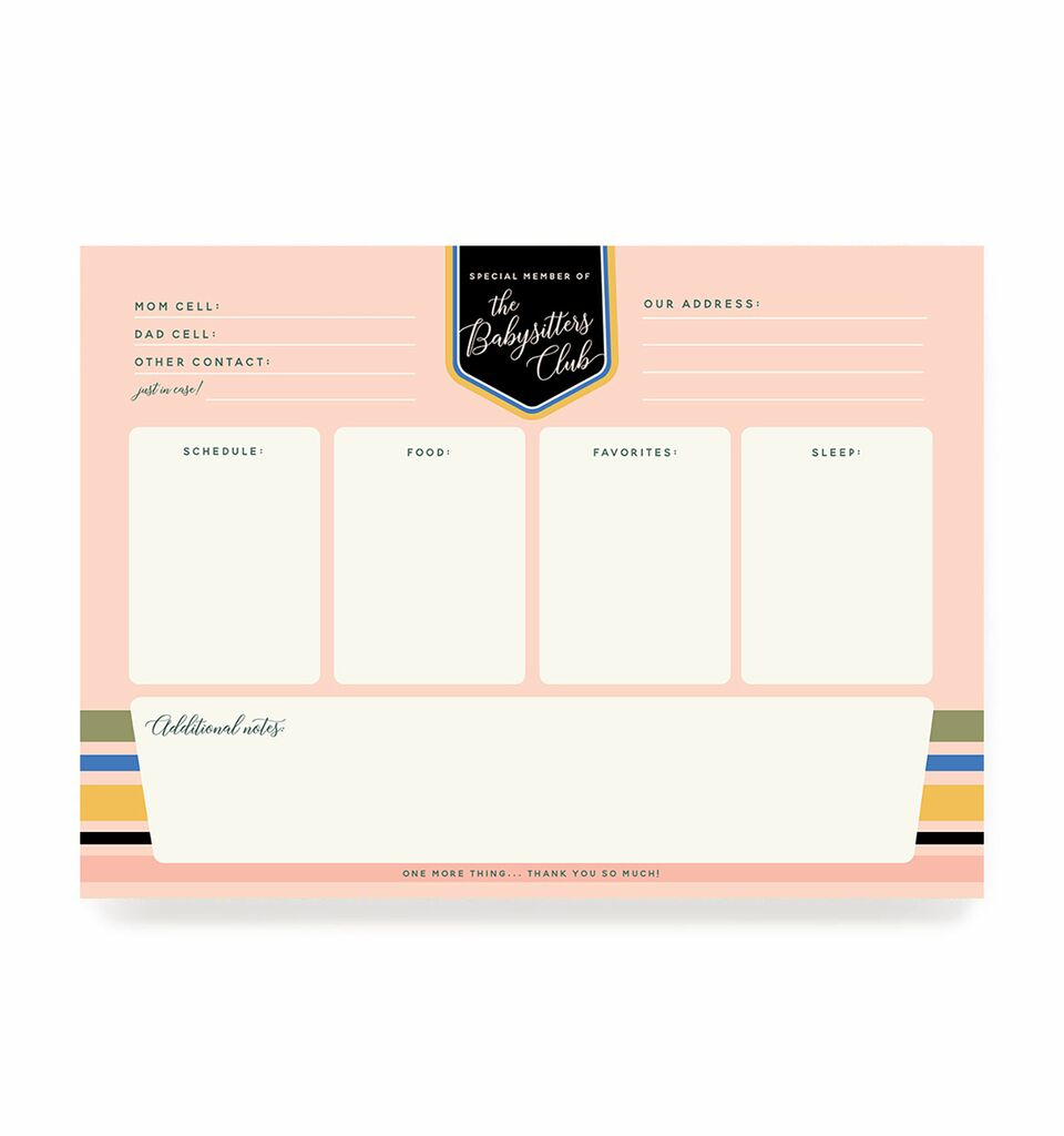 Ginger P. Designs - Babysitters Club Notepad