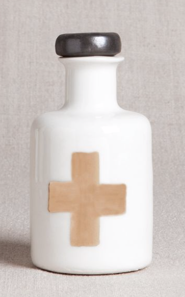 Porcelain Apothecary Bottle with Gold Cross