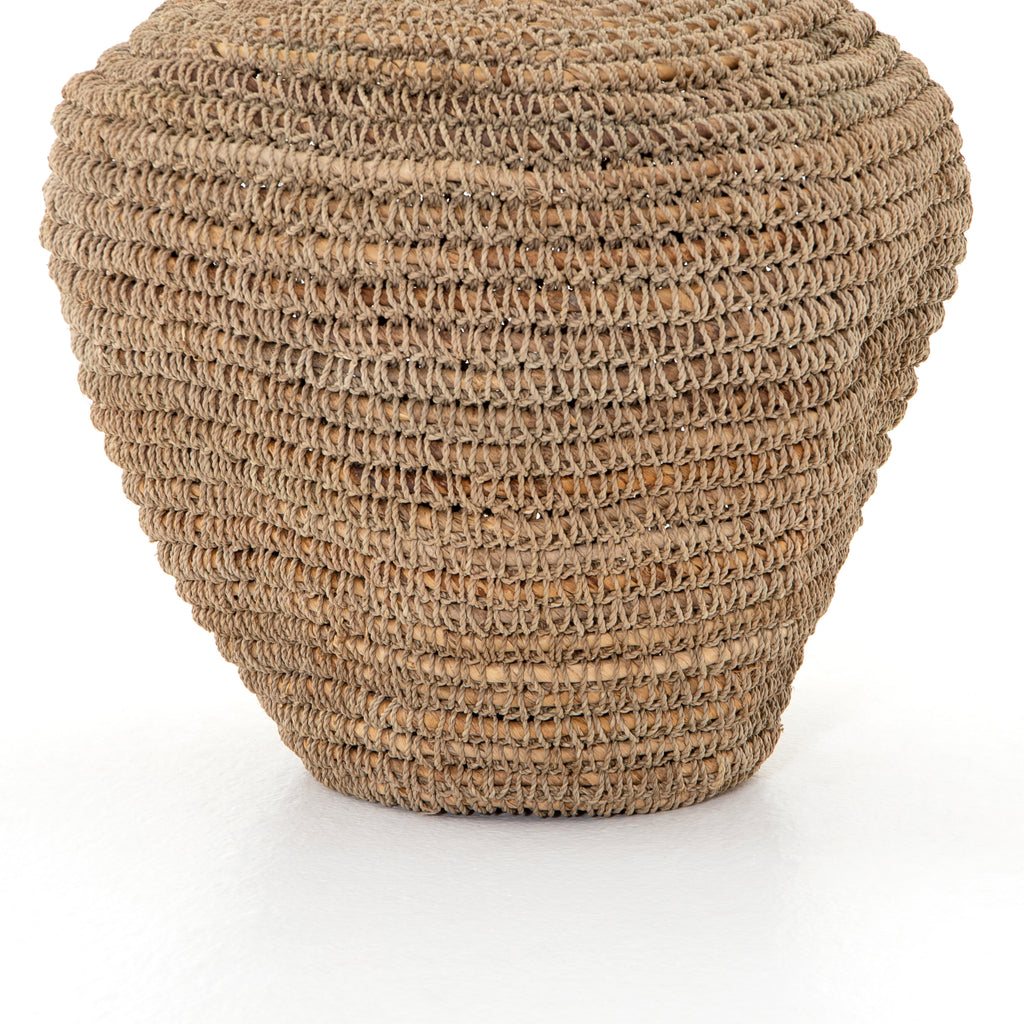 "This slouched Bodhi Basket -  Natural has an iron framed wrapped in hand-woven banana leaf. Place on your shelf or in the entryway and bring all the boho vibes to the space.   Overall Dimensions: 15.75""w x 15.75""d x 19.00""h Colors: Black Ink, Natural Banana Leaf Materials: Iron, Banana Leaf"