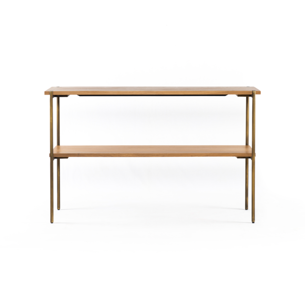 "Craft an open, airy look with two spacious slabs of natural oak and slim, satin brass-finished iron frame.  Overall Dimensions: 50.00""w x 14.75""d x 31.00""h Colors: Satin Brass, Natural Oak Materials: Iron, Oak Weight: 43.25 lb"