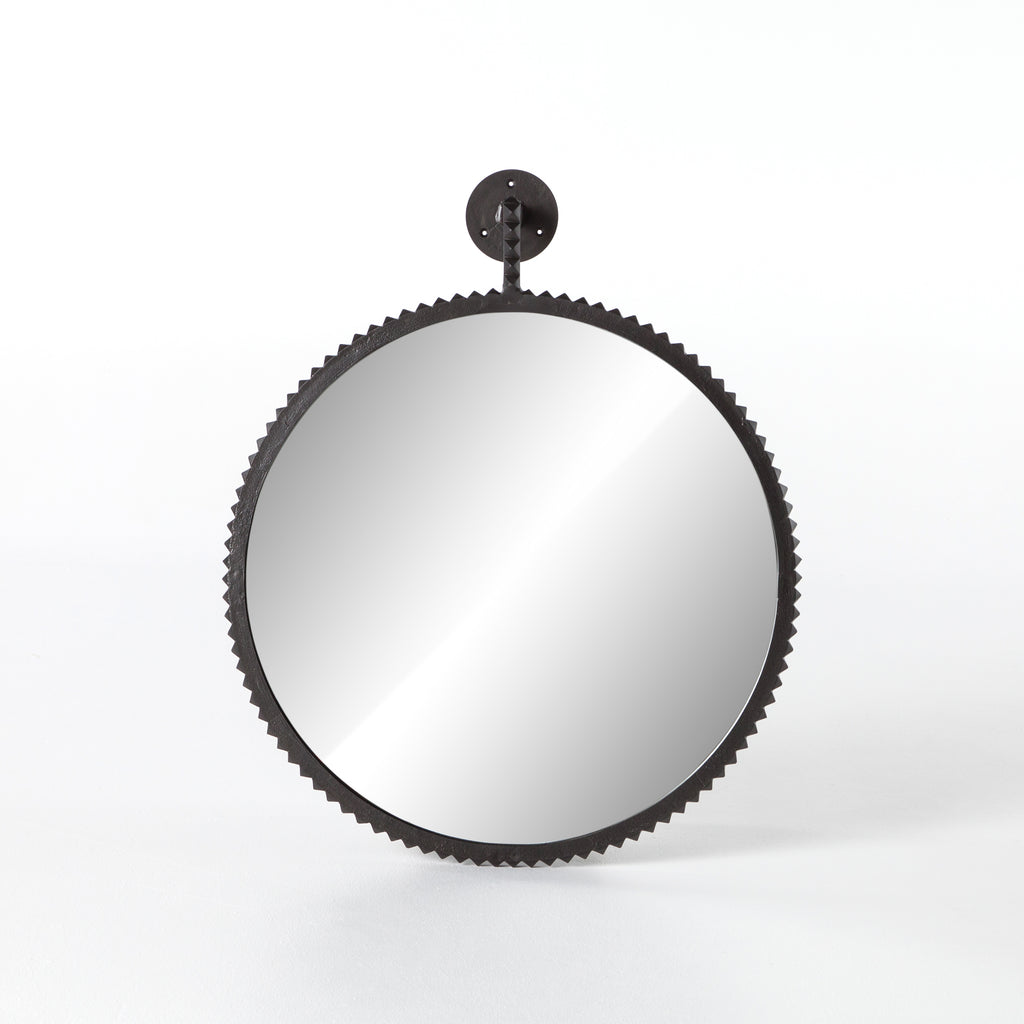 "Finished in aged bronze, the formed edge of the Cru Large Mirror brings a unique look to this circle mirror. We'd love to see this hung in your bathroom or entryway to bring some extra character to the space.   Overall Dimensions: 31.00""w x 4.50""d x 37.50""h Colors: Aged Bronze, Mirror Materials: Aluminum, Glass"