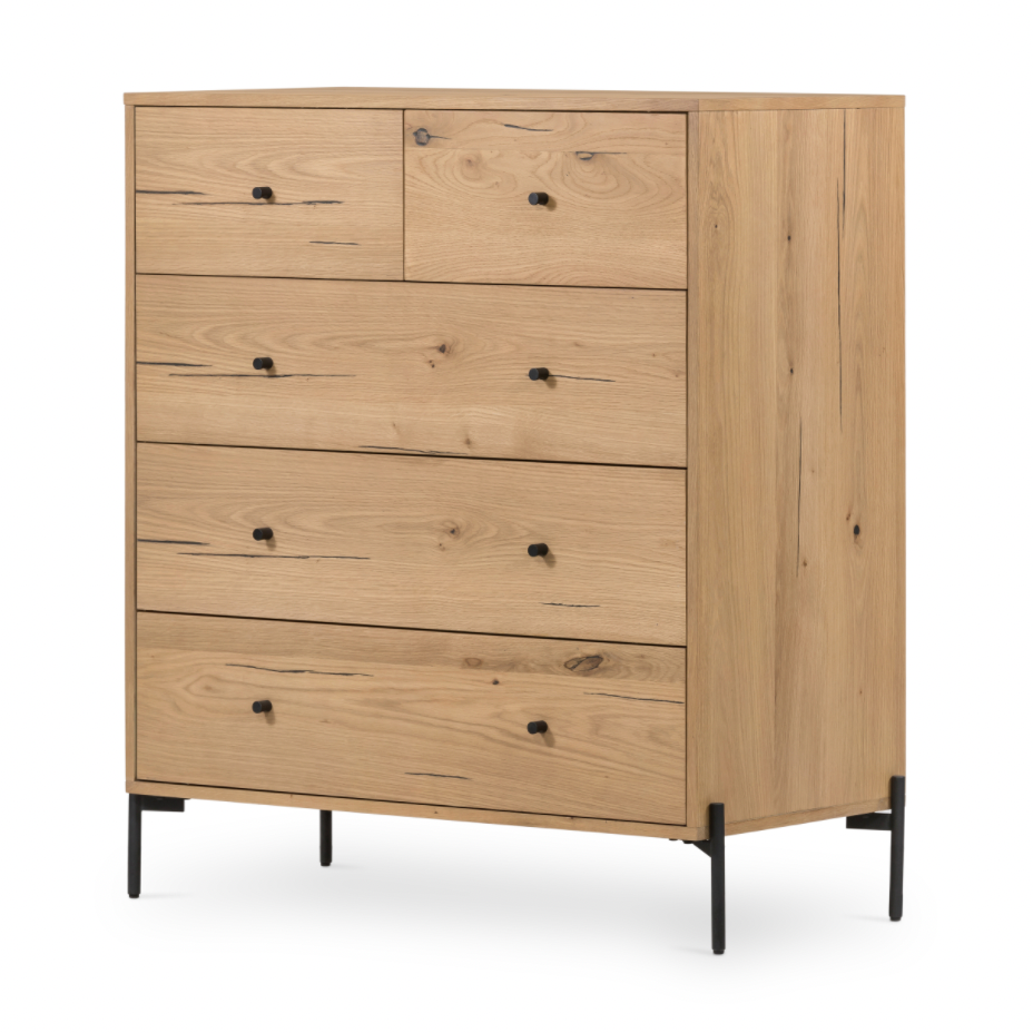 "The Eaton Light Oak 5 Drawer Dresser is clean and gorgeous with it's light-finished oak and gunmetal-finished hardware. The perfect vessel for storing clothes in style.   Size: 41.5""w x 20.5""d x 46.5""h   Colors: Dark Gunmetal, Light Oak Resin Materials: Iron, Thick Oak Veneer"