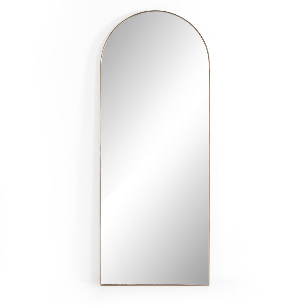 "This Georgina Floor Mirror has a beautiful arch with a rose gold-finish aluminum frame. This will be the go-to mirror at home to try on your newest shopping haul or take that shameless selfie in.  Overall Dimensions: 32.00""w x 2.00""d x 80.00""h Colors: Polished Brass, Mirror Materials: Aluminum, Mirror Weight: 110  Please allow 3-4 weeks on shipment for these items."