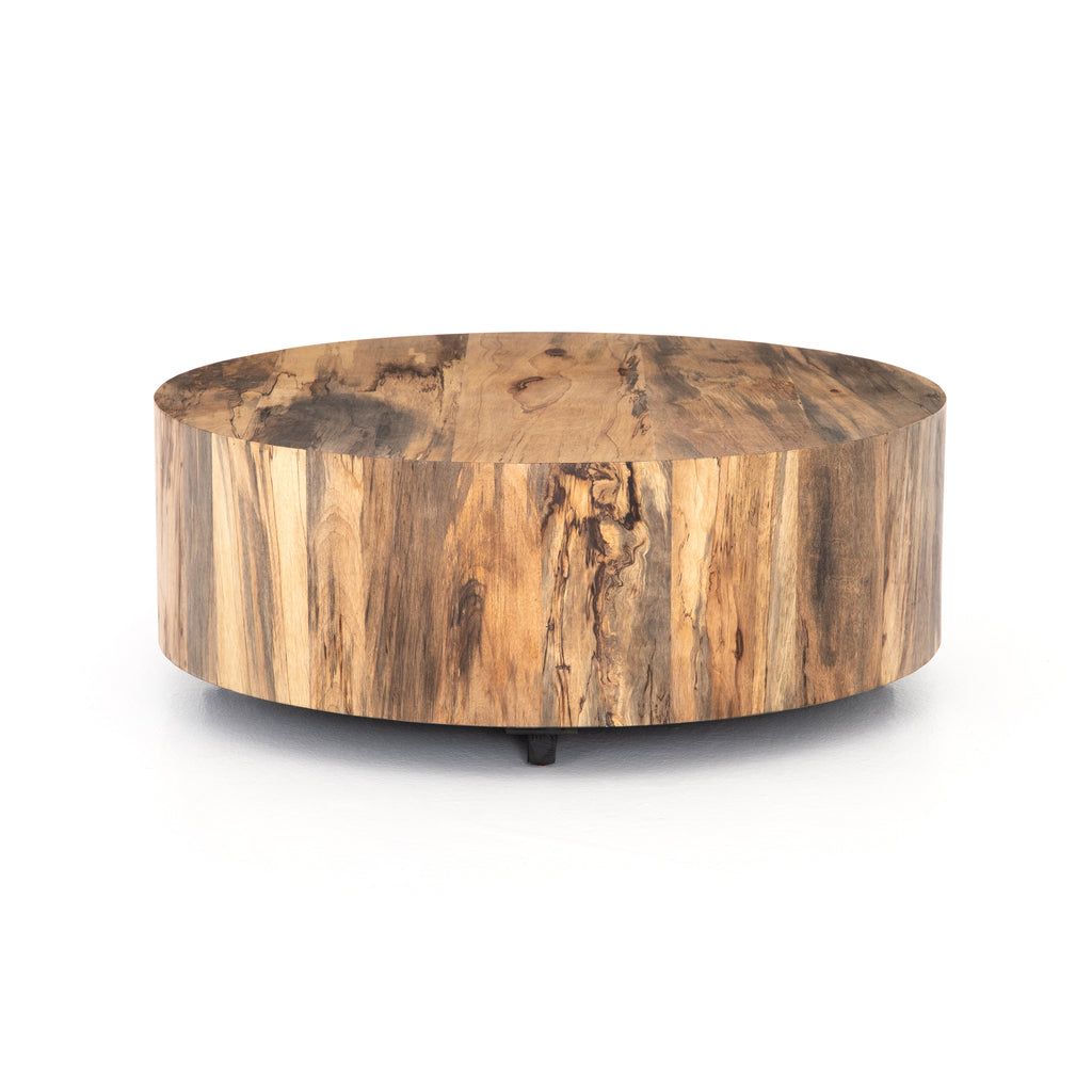 "Stunning forces of nature are captured in the Hudson Spalted Primavera Coffee Table. We love how the spalted primavera wood is hand-shaped into a cylindrical silhouette. Reflective of woods' natural character, a slight color variance is possible.   Size: 40""w x 40""d x 15""h  Colors: Gunmetal, Spalted Primavera Materials: Iron, Primavera"