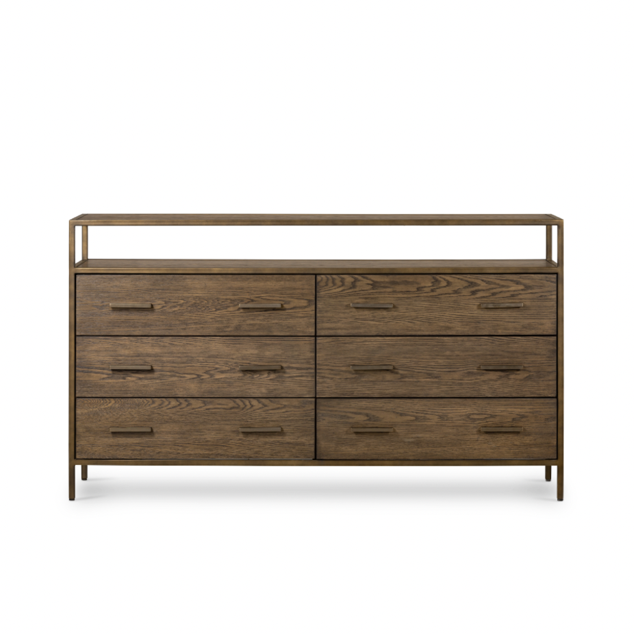 "This Mason 6 Drawer Dresser is a rich, hazel-finished oak dresser featuring six spacious drawers and top shelving framed by rubbed bronze iron, perfect for storing favorite jewelry and accessories.  Overall Dimensions: 65.00""w x 18.00""d x 37.00""h  Colors: Dark Hazel, Rubbed Bronze Materials: Oak Veneer 0.6 Mm, Iron"