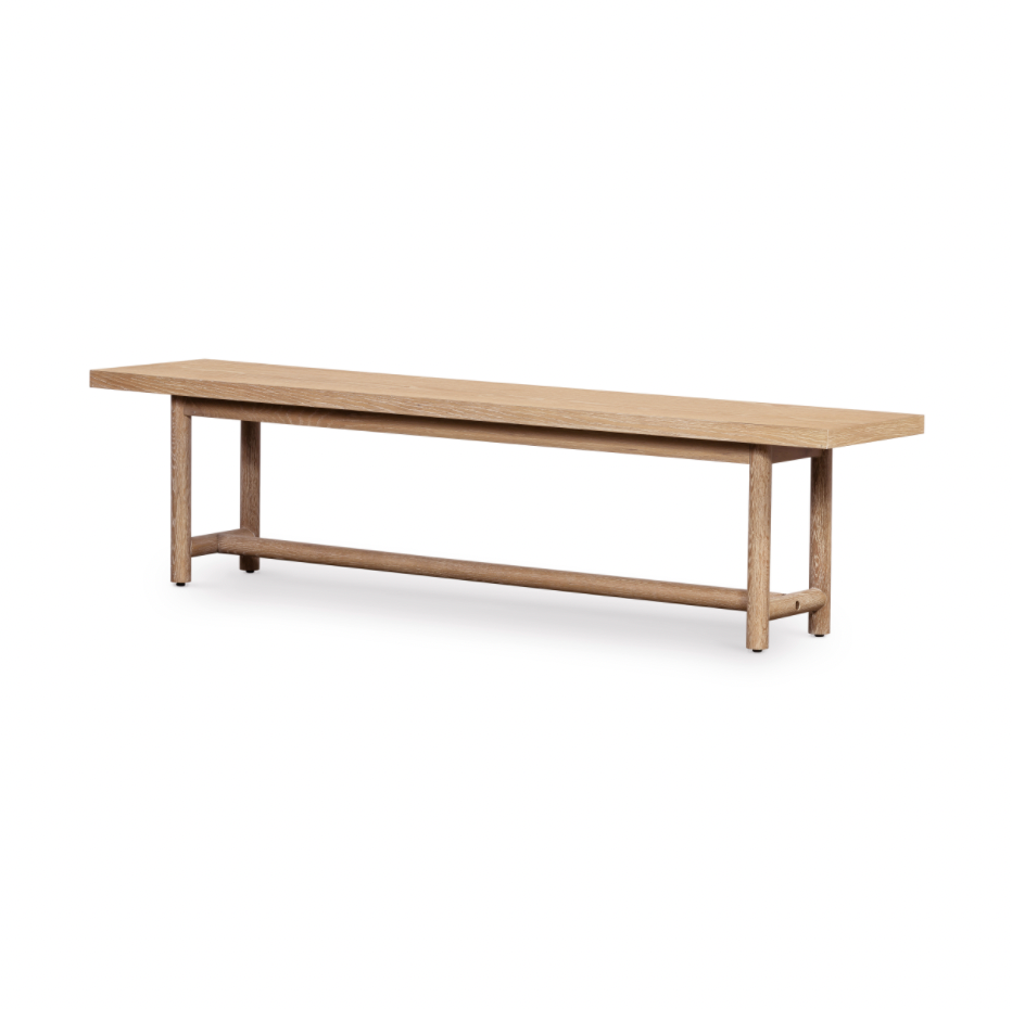 "The matte finish of this Mika Whitewashed Oak Dining Bench matched with the low stretched, cylindrical legs bring a rustic, modern look to your dining room. The perfect pair to the Mika Dining Table.   Size: 75""w x 15.5""d x 18""h  Colors: Whitewashed Oak Materials: Oak Veneer"