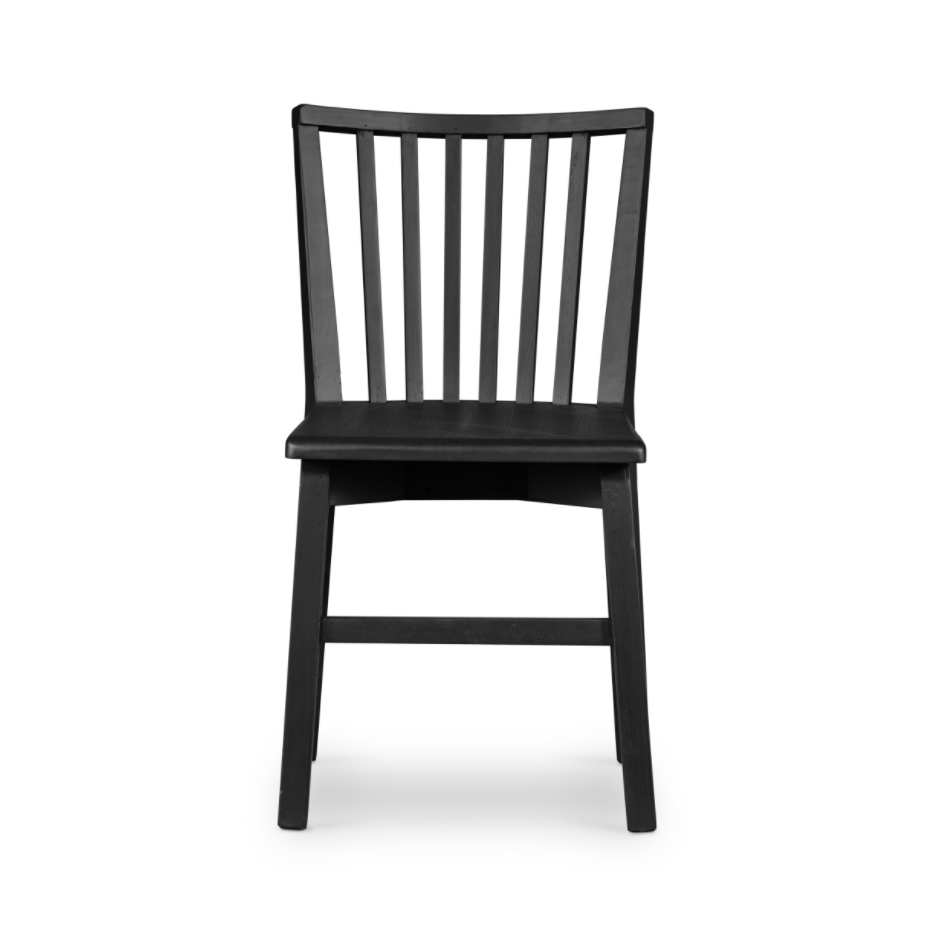 The Primm Matte Black Dining Chair has a matte black finish that lends sleekness to this updated take on the traditional Windsor. Crafted from mixed reclaimed woods, this add a raw, organic feel to any dining room or seating area.