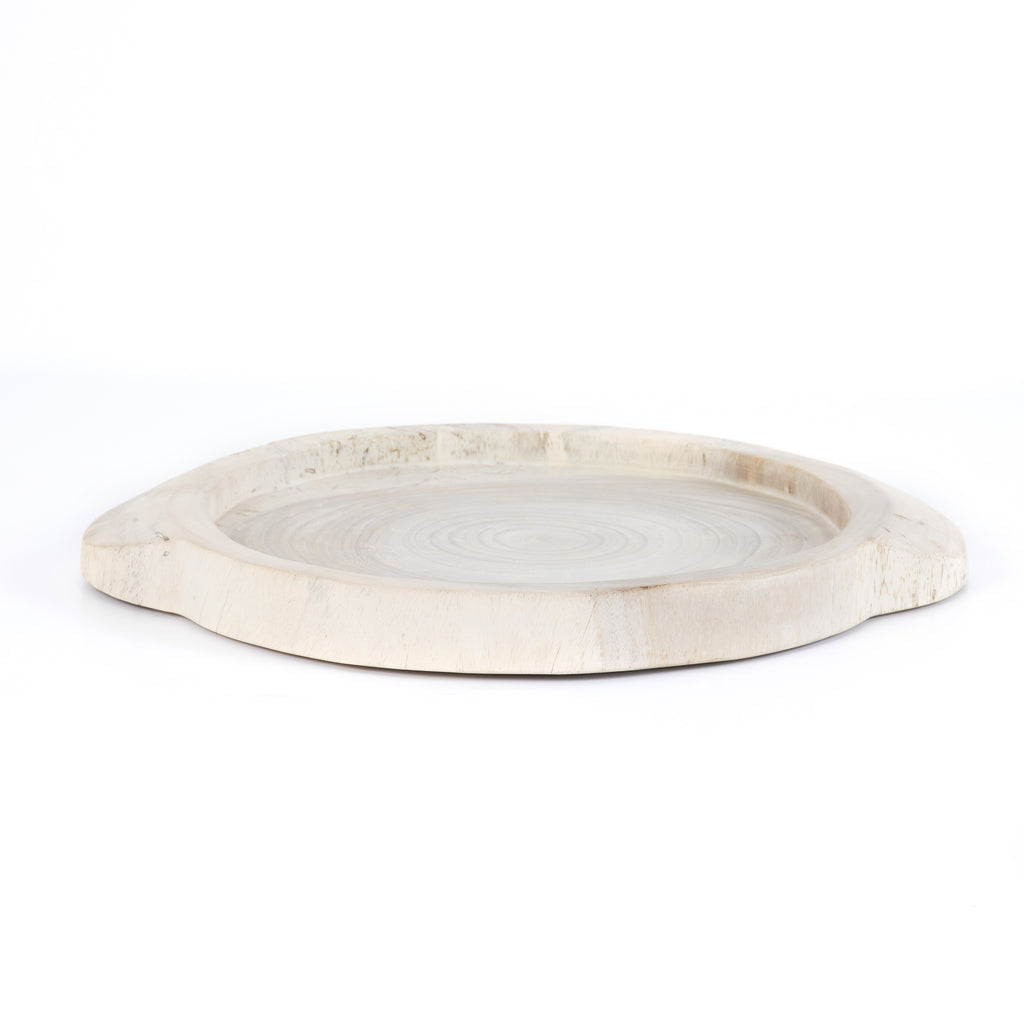 "This Tadeo Round Tray - Ivory is made from reclaimed wood and has a gorgeous organic, earthy feel. Whether it's placed on your coffee table or in your kitchen, this will be your new favorite tray!  Amethyst Home celebrates natural materials, which often comes with beautiful imperfections. Each piece is made uniquely for you, please expect some variation and character. We embrace the design approach of Wabi Sabi!  Overall Dimensions: 23.50""w x 19.75""d x 1.75""h Colors: Ivory Materials: Solid Reclaimed Wood"