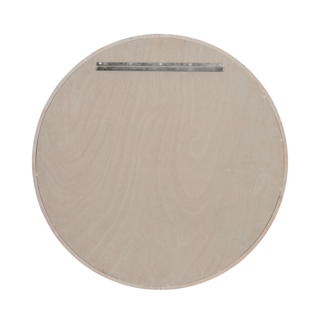 "The Viggo Round Mirror is framed in a white-finished solid oak, bringing all the rustic, farmhouse feels to your entryway, bedroom, or other space.   Overall Dimensions: 36.00""w x 36.00""d x 1.50""h Colors: Vintage White Oak Solid Materials: Solid Oak  Please allow 3-4 weeks for shipment."