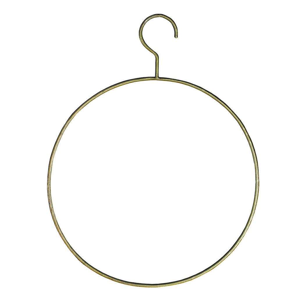 "This gorgeous iron hanger with an antique brass finish is great for hanging throws, plants, or rugs!  Size: 17""w x .5""d x 23""h"