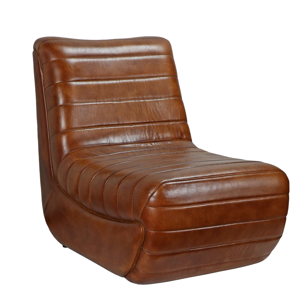 Come home to stylish comfort. This chair encourages you to kick your feet up and relax! The Tackshop Lounge Chair features caramel-tufted, caramel-brown leather and a clean contemporary, arm less design.