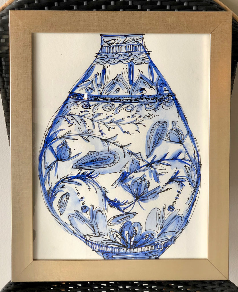 Blue and Black Vase Original Art #1 - Amethyst Home