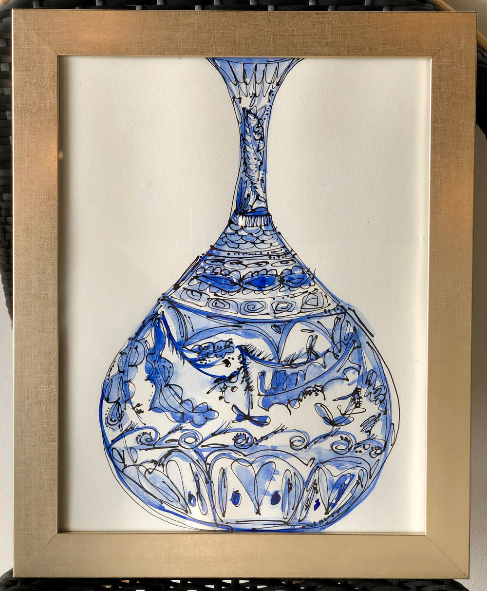 Blue and Black Vase Original Art #2