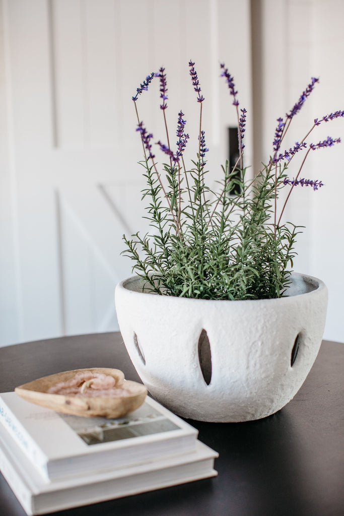 "This Faux French Lavender Potted is an Amethyst Favorite, the gorgeous pop of color combined with the sleek modern concrete base is sure to elevate any space without the hassle of regular plant care, truly the beauty of faux arrangements.  Overall Dimensions: 9"" x 9"" x 21"""