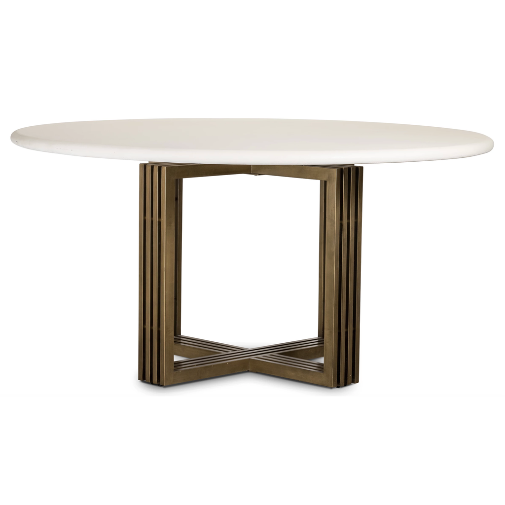 Mia Round Parchment White Dining Table - Amethyst Home