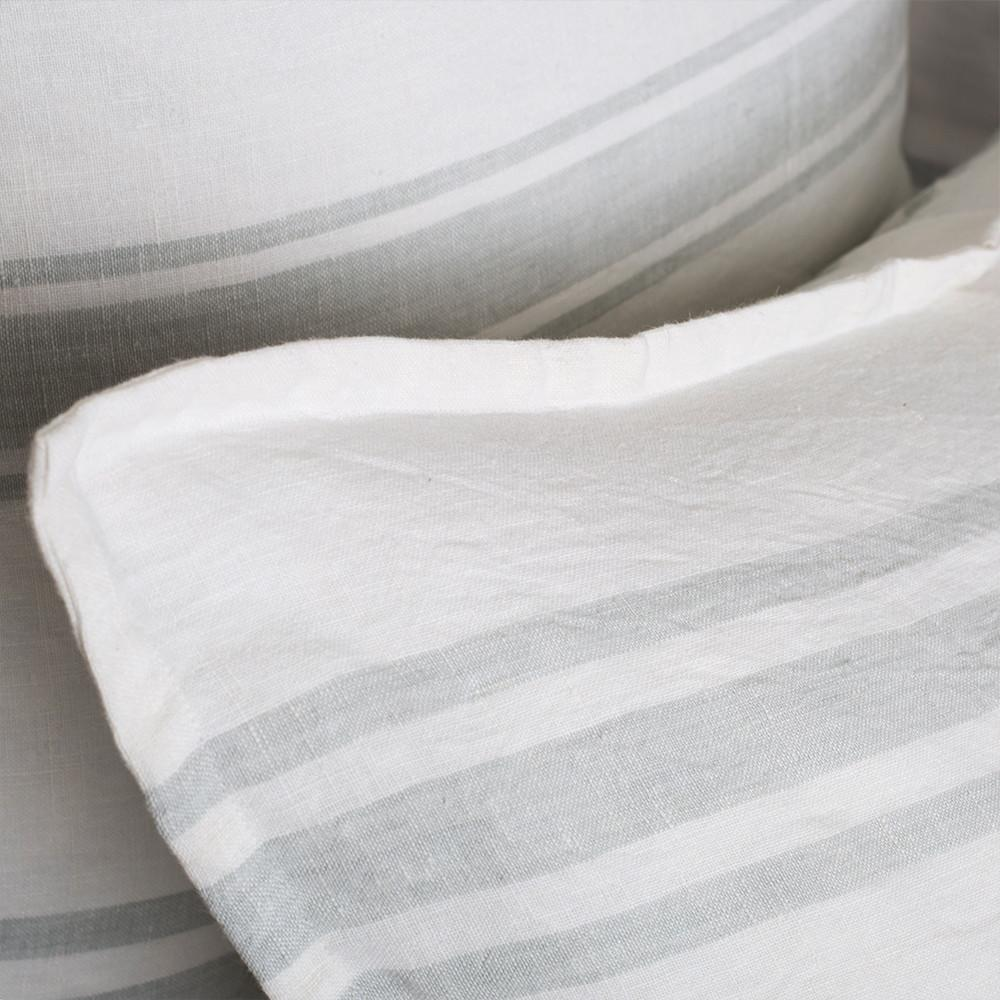 The Jackson Duvet Collection White/Ocean by Pom Pom at Home is a very casual and clean line. It features a series of ocean subtle stripes on white that create a simple and fresh look.  Its duvet cover and shams are finished with tie closures.   Inserts sold separately 100% linen Machine wash cold; tumble dry low; warm iron as needed Do not bleach
