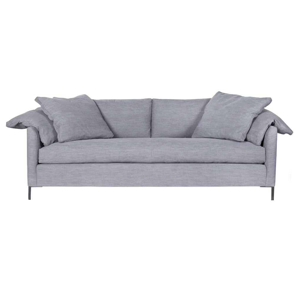 "A love letter to the Radley sofa -- the metal iron feet and laid back approach to sitting is effortlessly chic.  A feather cloud cushion with down filled back cushions allow for a sit that is upright yet comfortably deep.  90""w x 30""h x 38""d Seat Space: 81""w x 25""d x 20""h"