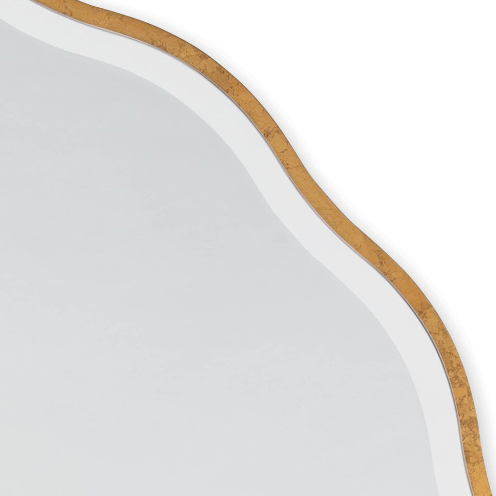 "An undulating gilded frame and beveled mirror edge gives the Candice mirror a feminine, glamorous look. Sure to look gorgeous in a bedroom, this mirror's substantial size will make it an eye-catching addition to any modern, transitional or traditional home.  Size: 42""h x 42""w x 0.5""d"