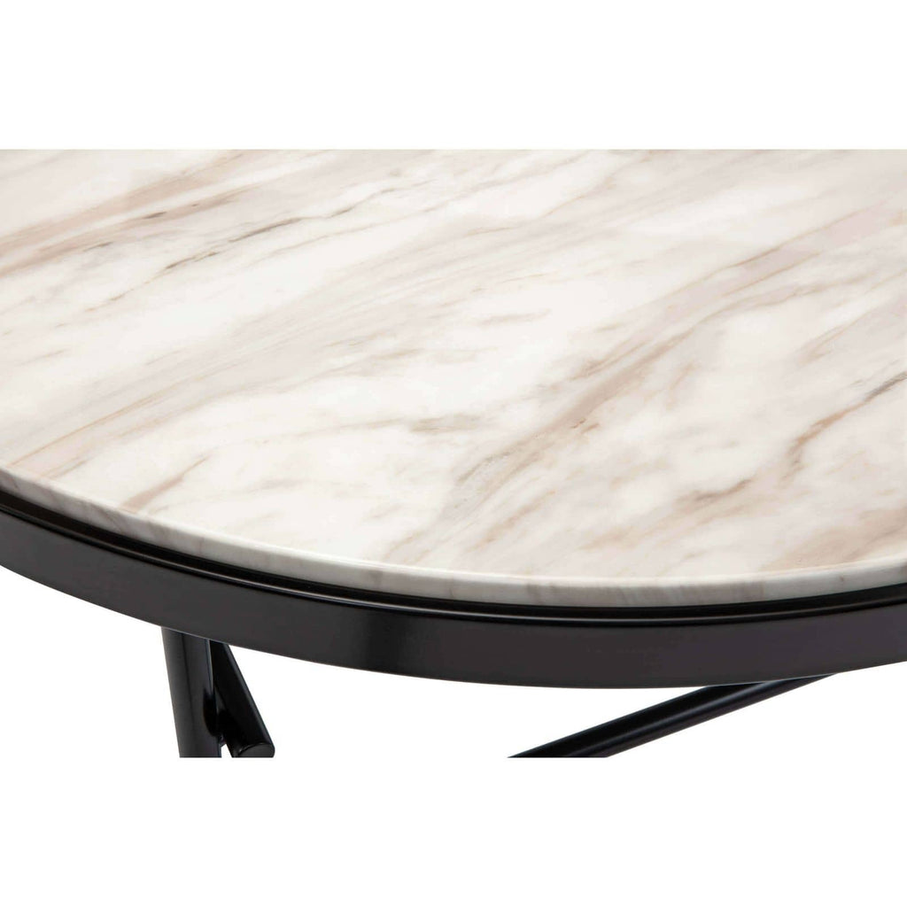 "We love the creamy marble top matched with the blacked iron frame on this Cesario Coffee Table. A sophisticated, modern piece to add to your living room or lounge area.    Overall size: 39""w x 39""d x 16""h"
