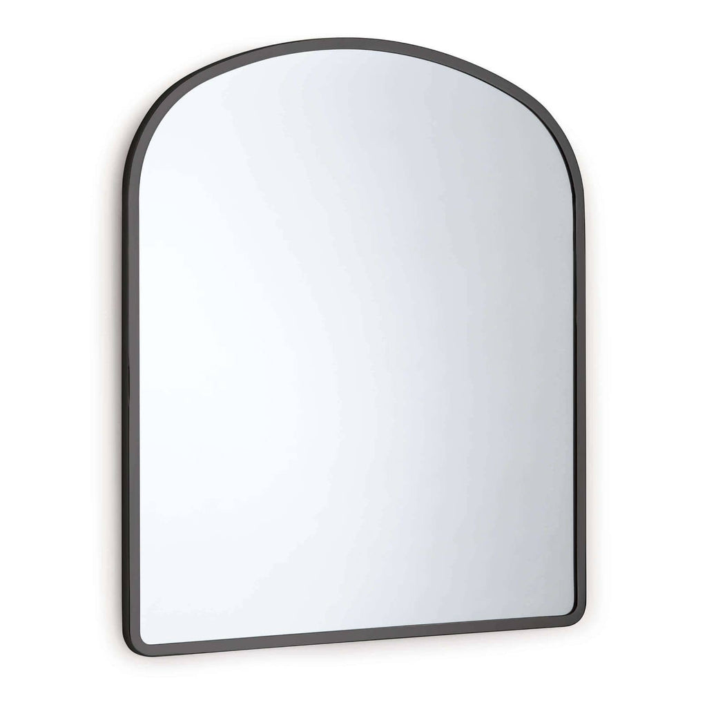 "We love the arched metal frame of this Cloak Mirror. Place in your entryway, living room, or bedroom and bring a sleek, sophisticated look to the space!   Overall Size: 26""w x 0.75""d x 30""h"