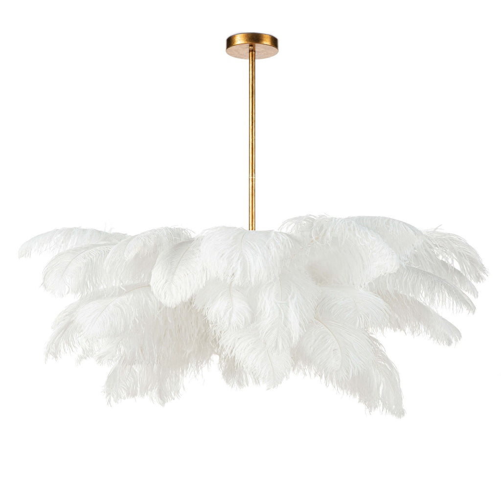 "A boho dream and definite statement piece -- we are obsessed with the white feathers of this Josephine Feather Chandelier! We'd love to see this hung in a bedroom, over a dining table, or any other space of your home needing a chic statement.  Overall size: 37.25""w x 37.25""d x 22.5""h"