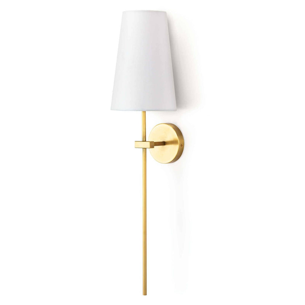 "The Toni Sconce has a thin, straight pipe that is both simple and sophisticated. Line down your hallway or place next to your bed, this sconce will elevate the whole space.   Overall size: 7.5""w x 7.5""d x 32""h Shade Dims: 5"" x 7.5"" x 11"""